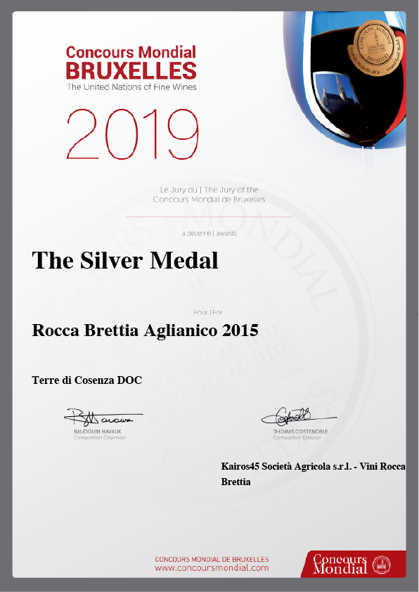 Our Aglianico 2015 won the silver medal at the Concours Mondial de Bruxelles