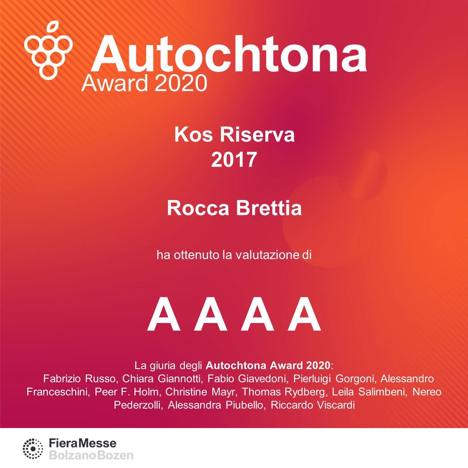 "Autochtona Award assegna a kos quattro ""a"""